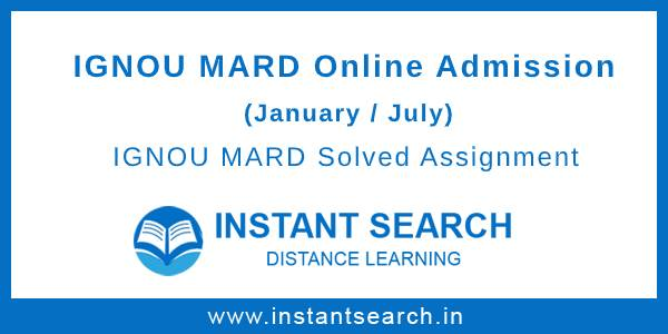 IGNOU MARD Online Admission