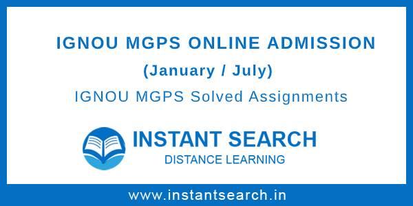 IGNOU MGPS Online Admission