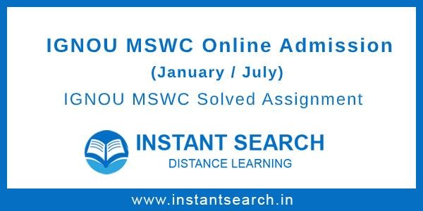 IGNOU MSWC Online Admission