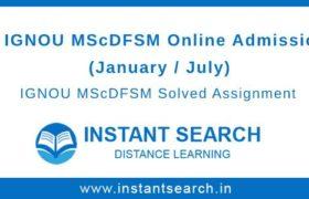 IGNOU MScDFSM Online Admission
