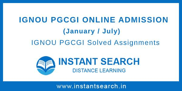 IGNOU PGCGI Online Admission