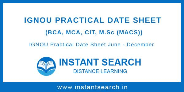 IGNOU Practical Date Sheet June December