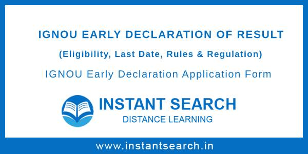 Ignou Early Declaration of Result