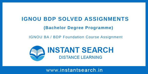 IGNOU BDP Foundation Course