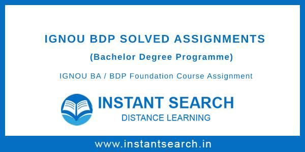 IGNOU BDP Foundation Course