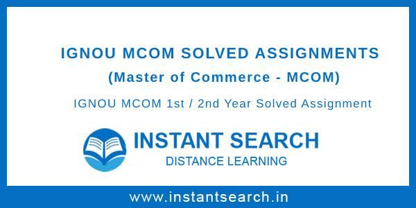 Ignou MCOM Solved Assignments