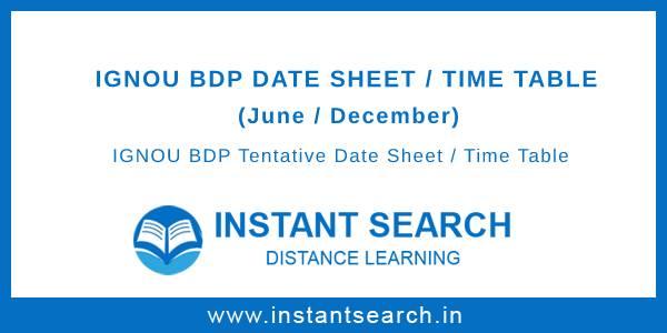 IGNOU BDP Date Sheet