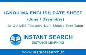 IGNOU MEG Date Sheet