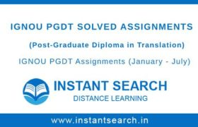 IGNOU PGDT Solved Assignments