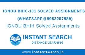 Free IGNOU BHIC-101 Assignment