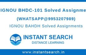 IGNOU BHDC101 Solved Assignment