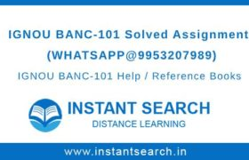 IGNOU BANC101 Solved Assignment