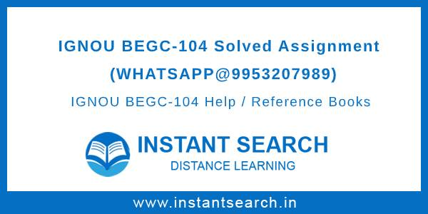 IGNOU BEGC104 Solved Assignment