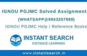 IGNOU PGJMC Assignment