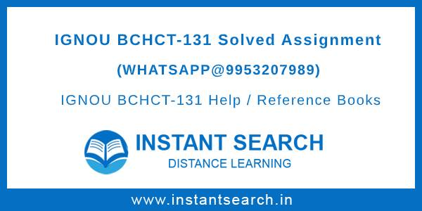 BCHCT131 Assignment