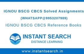 BSCG Ignou Assignment