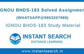 IGNOU BHDS-183 Assignment