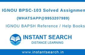 IGNOU BPSC103 Assignment