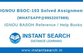 IGNOU BSOC103 Assignment