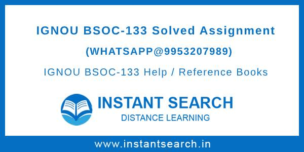 IGNOU BSOC133 Assignment